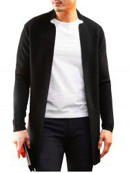 Notched Collar Open Longline Cardigan -