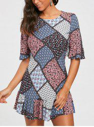 Patchwork Print Half Sleeve Drop Waist Dress