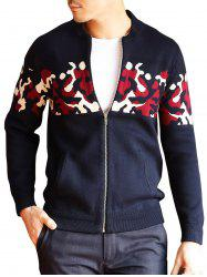 Zip Up Camouflage Cardigan