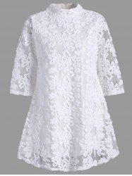 Overlay Mock Neck Min Lace Dress - WHITE S