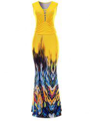 Sleeveless Printed Maxi Evening Dress - YELLOW