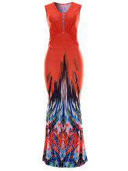 Sleeveless Printed Maxi Evening Dress - RED XL