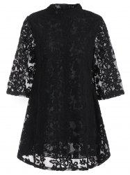 Overlay Mock Neck Min Lace Dress - BLACK
