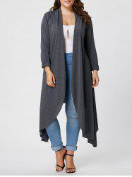 Plus Size Maxi Asymmetric Front Open Cardigan - GRAY