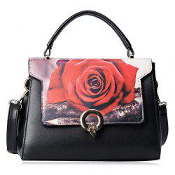 Print Metal Embellished Faux Leather Handbag - RED
