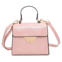 Metal Embellished Top Handle Handbag - PINK