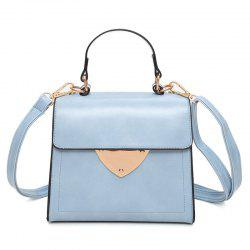 Metal Embellished Top Handle Handbag - LIGHT BLUE