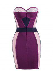 Color Block Rhinestone Strapless Sheath Bandage Dress