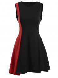 Asymmetrical Color Block Mini Dress