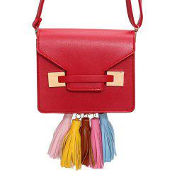 Metal Detail Tassels Crossbody Bag - RED