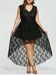 Sleeveless High Low Plus Size Lace Dress
