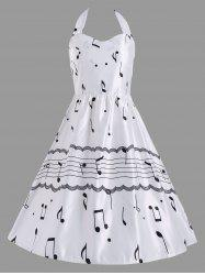 Halter Music Note High Waist Party Dress