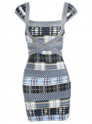 Cap Sleeve Plaid Bandage Dress