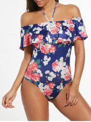 One Piece Halter Off Shoulder Flounce Swimwear - Bleu Foncé XL