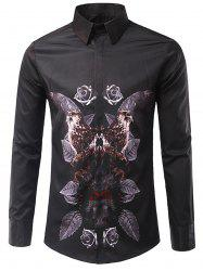 3D Symmetrical Leaves and Florals Print Shirt - BLACK M
