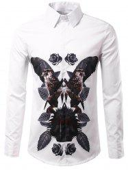 3D Symmetrical Leaves and Florals Print Shirt - WHITE 3XL