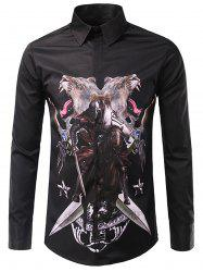 3D Symmetrical Animal Warrior Print Shirt