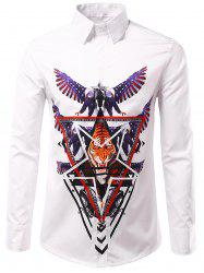 3D Eagle and Tiger Geometric Print Patriotic Shirt