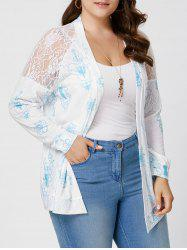 Sheer Back Lace Crochet Long Sleeve Plus Size Cardigan - WHITE