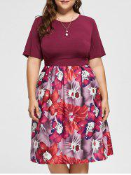 A Line Floral Plus Size Midi Dress