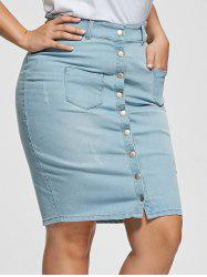 Light Wash Bodycon Button Up Denim Skirt - LIGHT BLUE 4XL