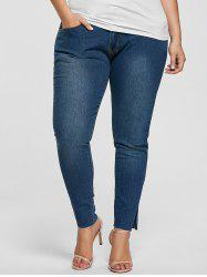 Ankle Length Skinny Plus Size Jeans - DENIM BLUE