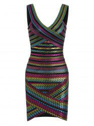 Bodycon Bronzing Rainbow Bandage Dress - COLORMIX