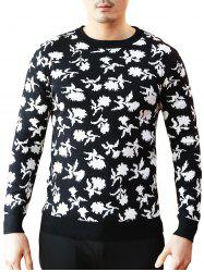 Crew Neck Floral Pattern Sweater -