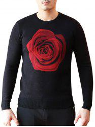 Crew Neck Rose Pattern Sweater