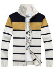 High Collar Stripe Cardigan - WHITE L