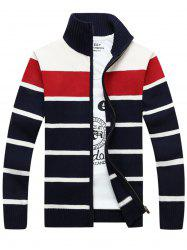 High Collar Stripe Cardigan - RED