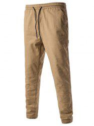 Drawstring Side Pockets Harem Pants - KHAKI XL
