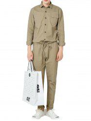 Drawstring Waist Button Up Jumpsuit - KHAKI XL