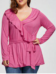 Plus Size Front Tie Flounce Surplice Top
