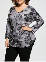 Floral Plus Size V-neck Long Sleeve Top