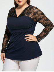 Lace Trim Sheer Plus Size V-neck Top