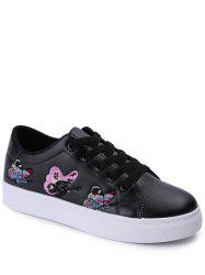 Butterfly Pattern Embroidery Flat Shoes - BLACK 38