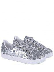 Sequins Tie Up Flat Shoes - SILVER 39
