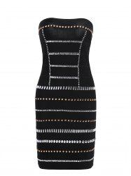 Strapless Beaded Bandeau Bandage Sheath Dress