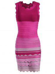 Ombre Color Night Out Bandage Dress - ROSE RED XL