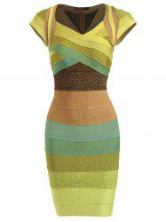 Cap Sleeve Color Block Bandage Dress