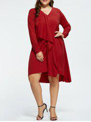 Plus Size V-neck High Low Party Dress