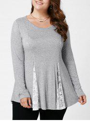 Plus Size Lace Panel Flare Top