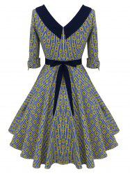Striped Floral Belted Bowknot Dress