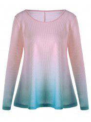 Knitted Long Sleeve Ombre T-shirt