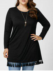 Long Sleeve Tassel Plus Size Tunic Top - BLACK XL