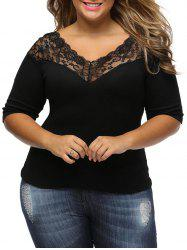 Lace Panel V Neck Plus Size Tee