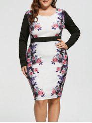 Plus Size High Waist Slit Floral Dress