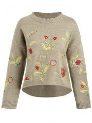 Plus Size Drop Shoulder Floral Embroidered Sweater