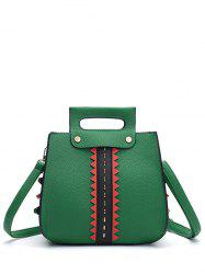 Colour Block Textured Leather Rivets Handbag - GREEN